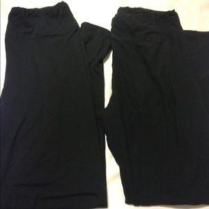 TWO PAIR of SOLID BLACK Lularoe Leggings T/C